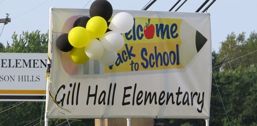 Welcome back Gill Hall sign