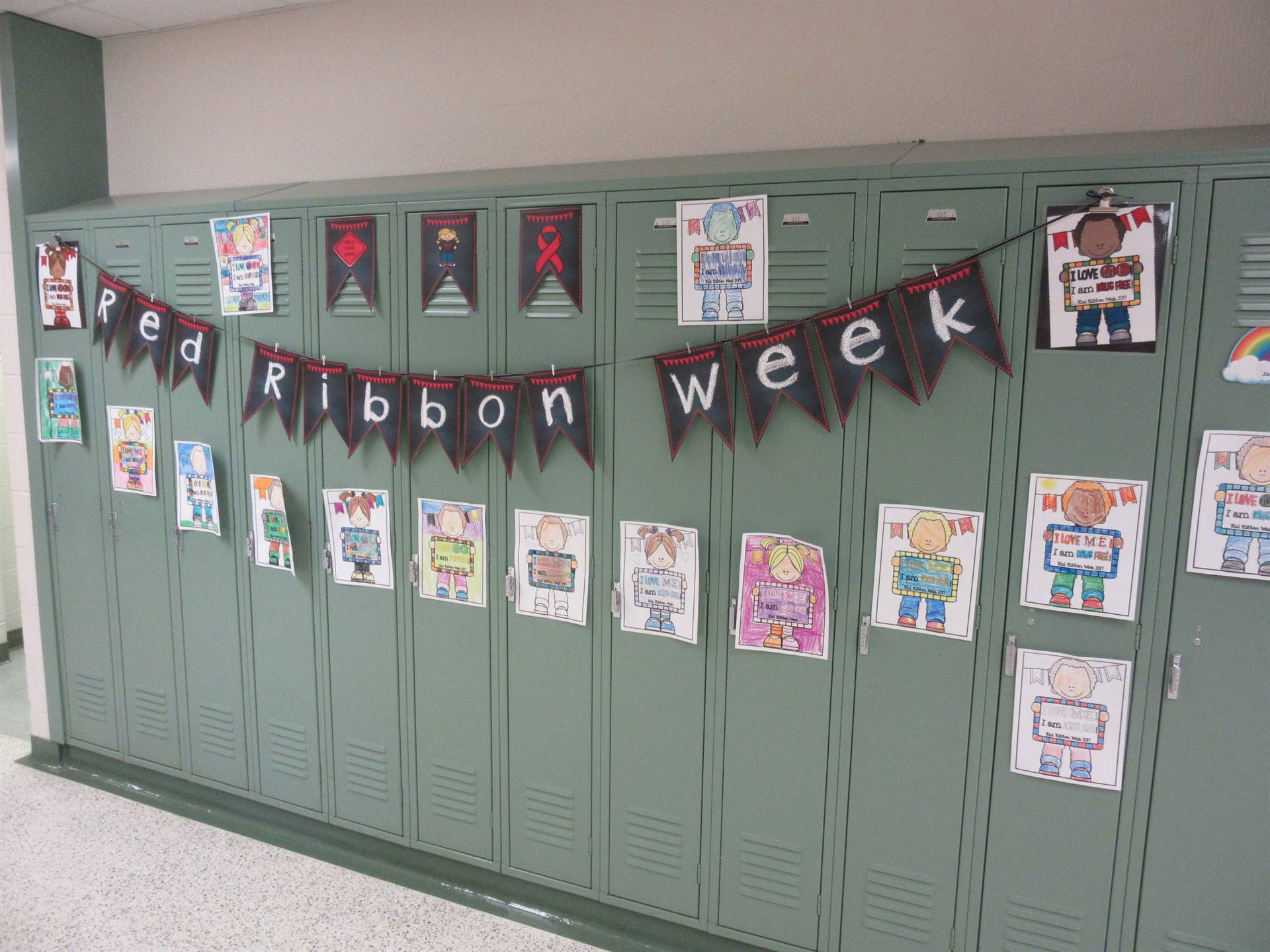 Lockers decorated for red ribbon week
