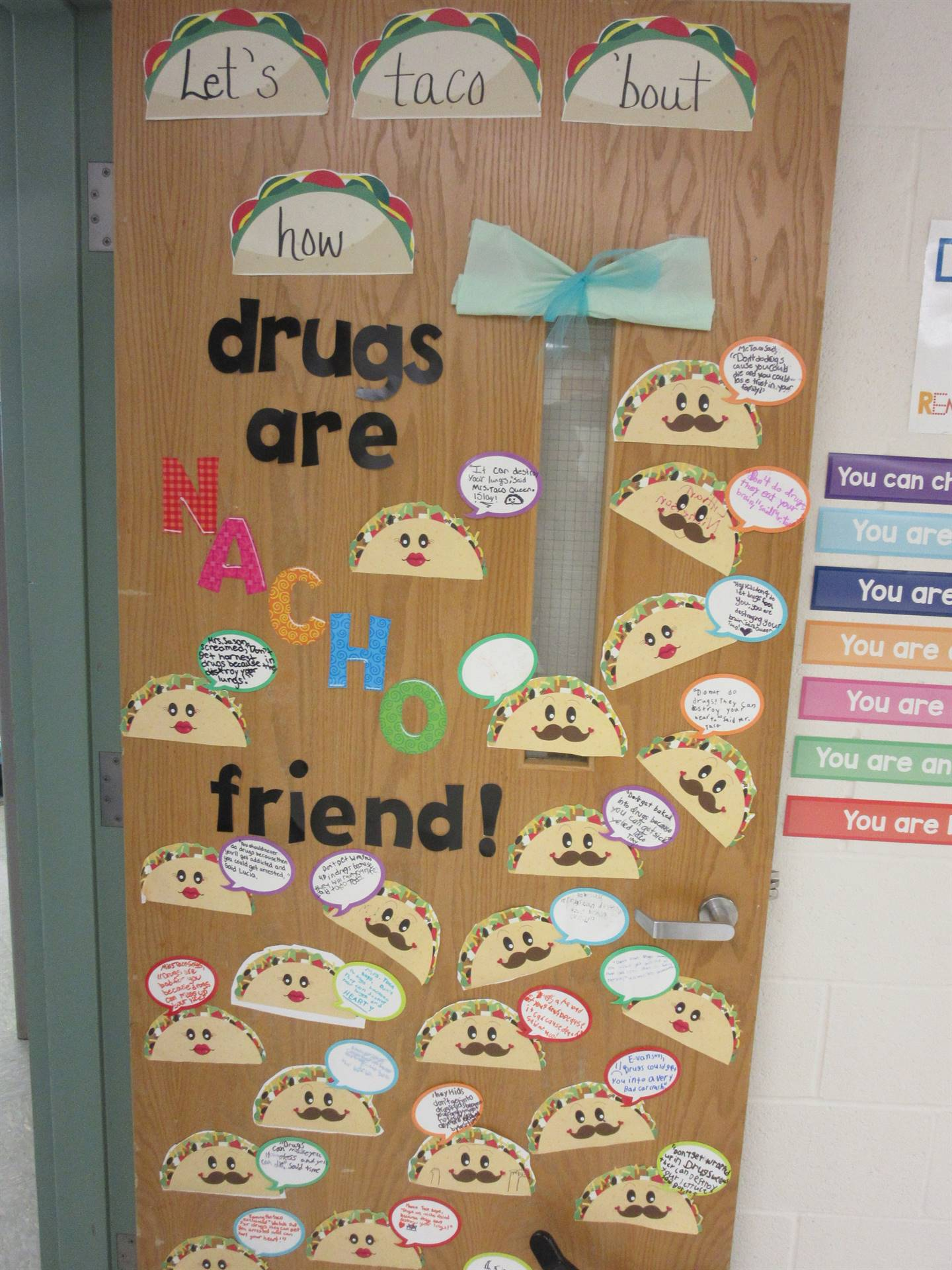 Classroom door decorated for red ribbon week