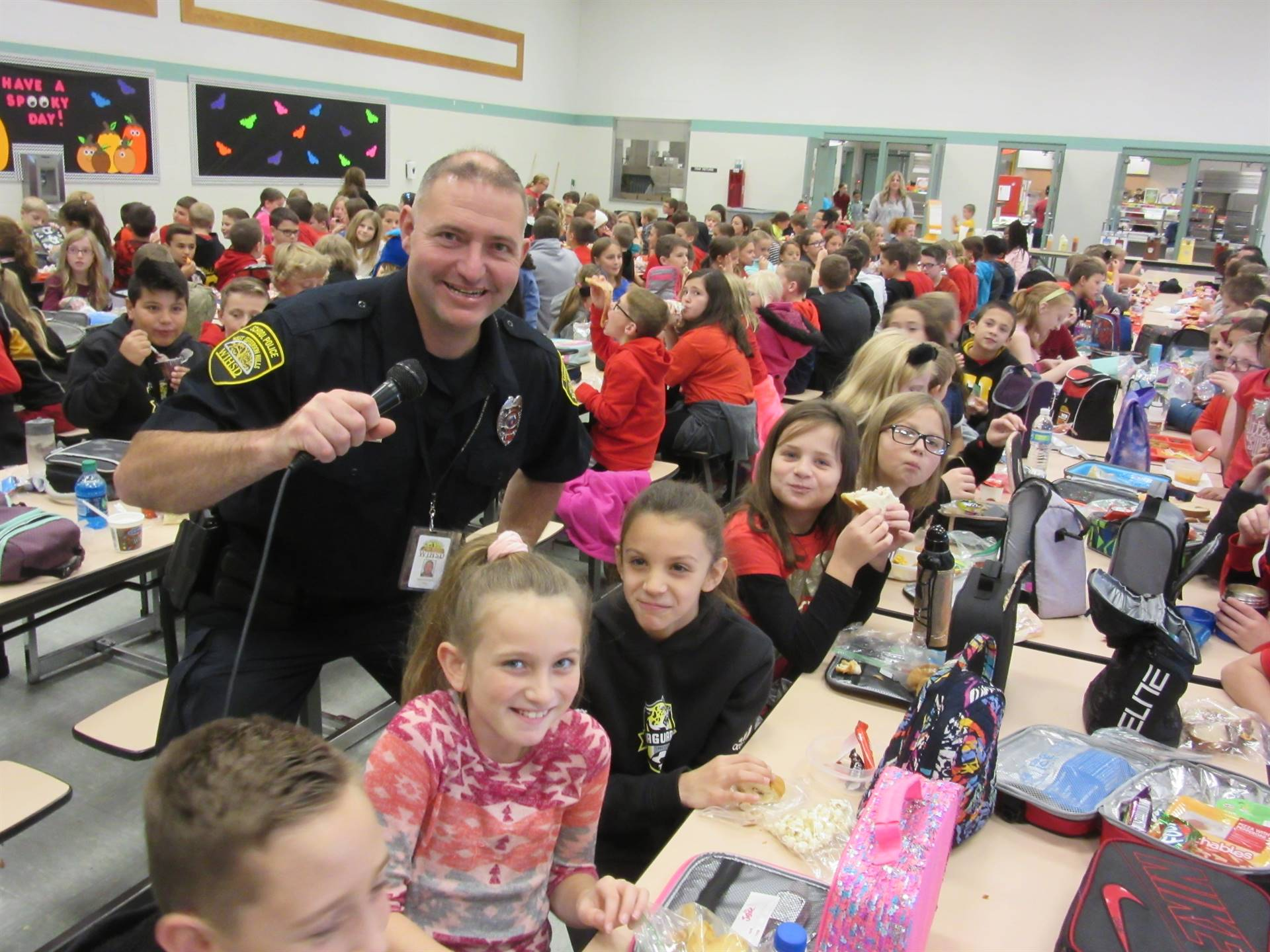 Officer Foulds with students