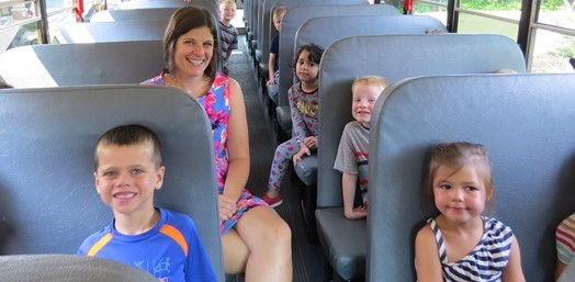 Kindergarten students on a bus ride