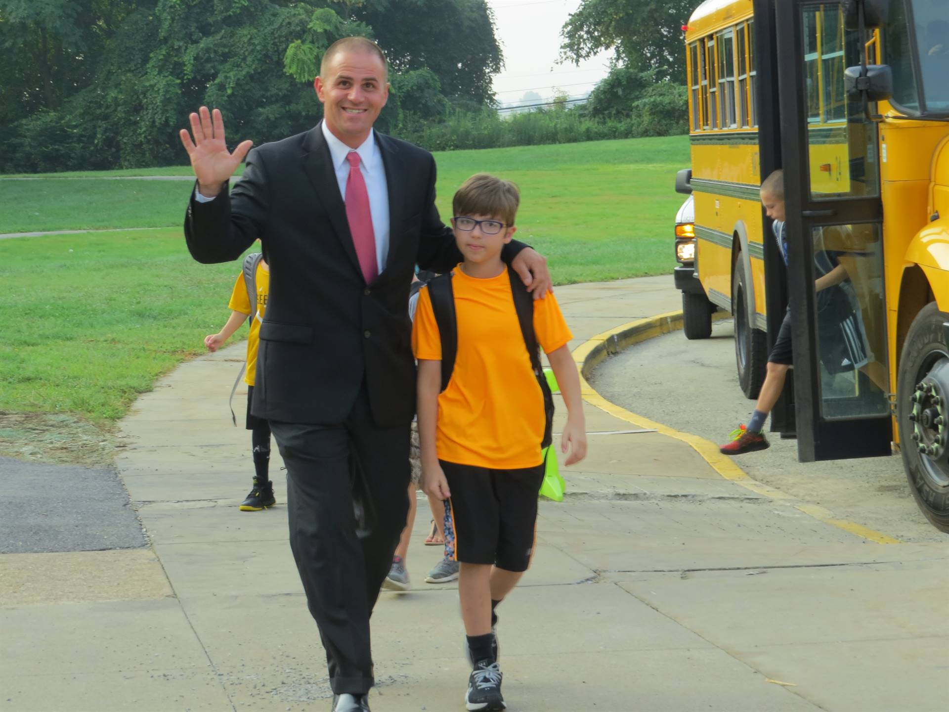 Principal Very welcoming student on first day of school