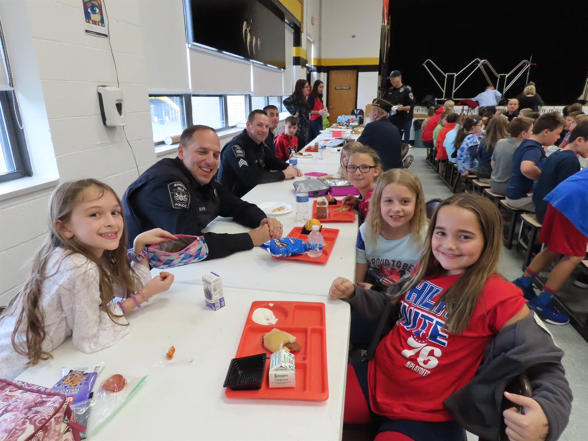 First Responders at lunch table