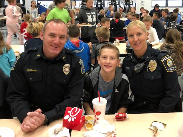 Police officer family and son