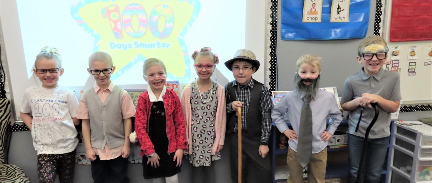 First graders dressed up as 100 years old