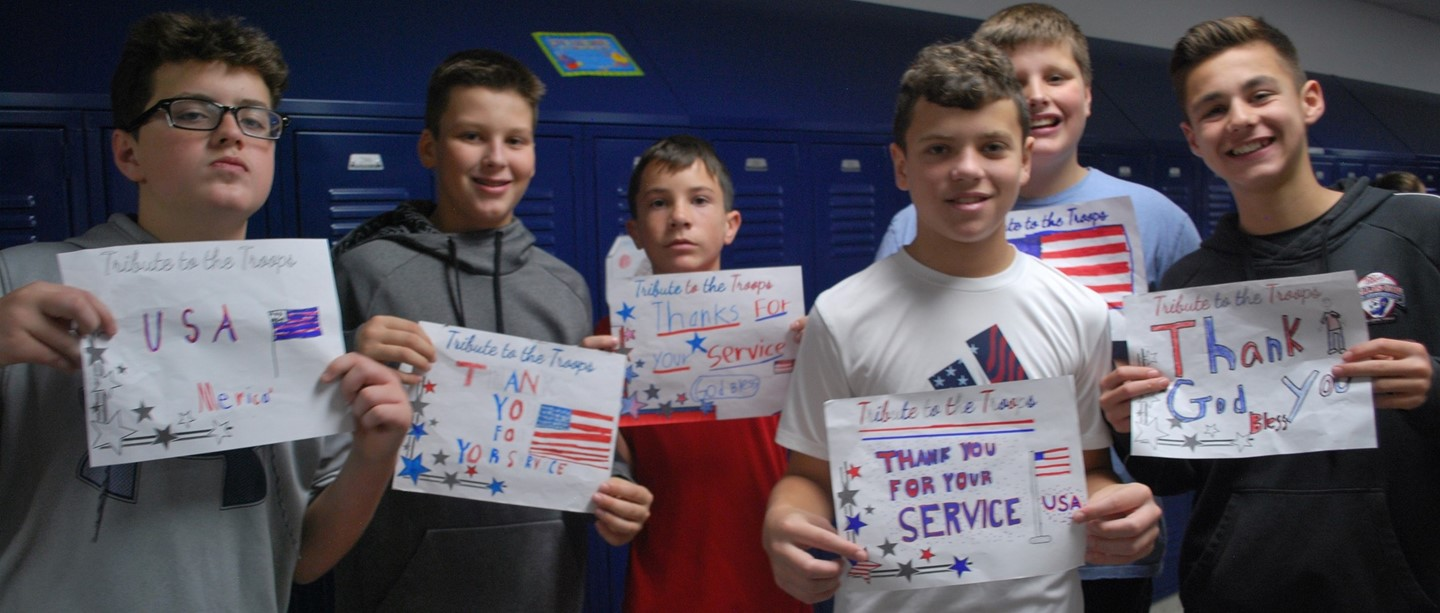 PHMS Boys with Veterans Day thank you cards