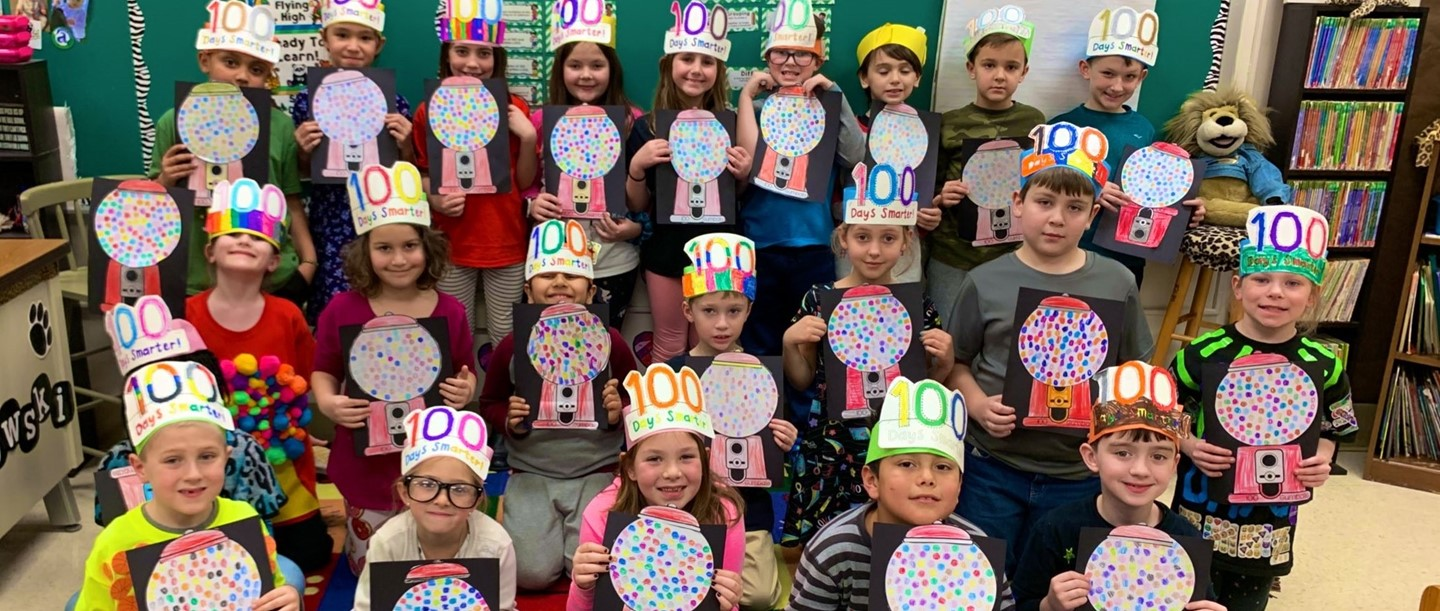 Students wearing their 100 days headbands