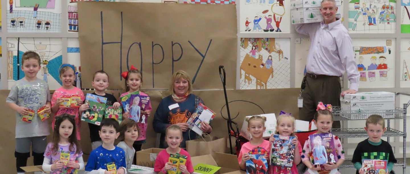 Students with donations collected for Beverley's Birthdays