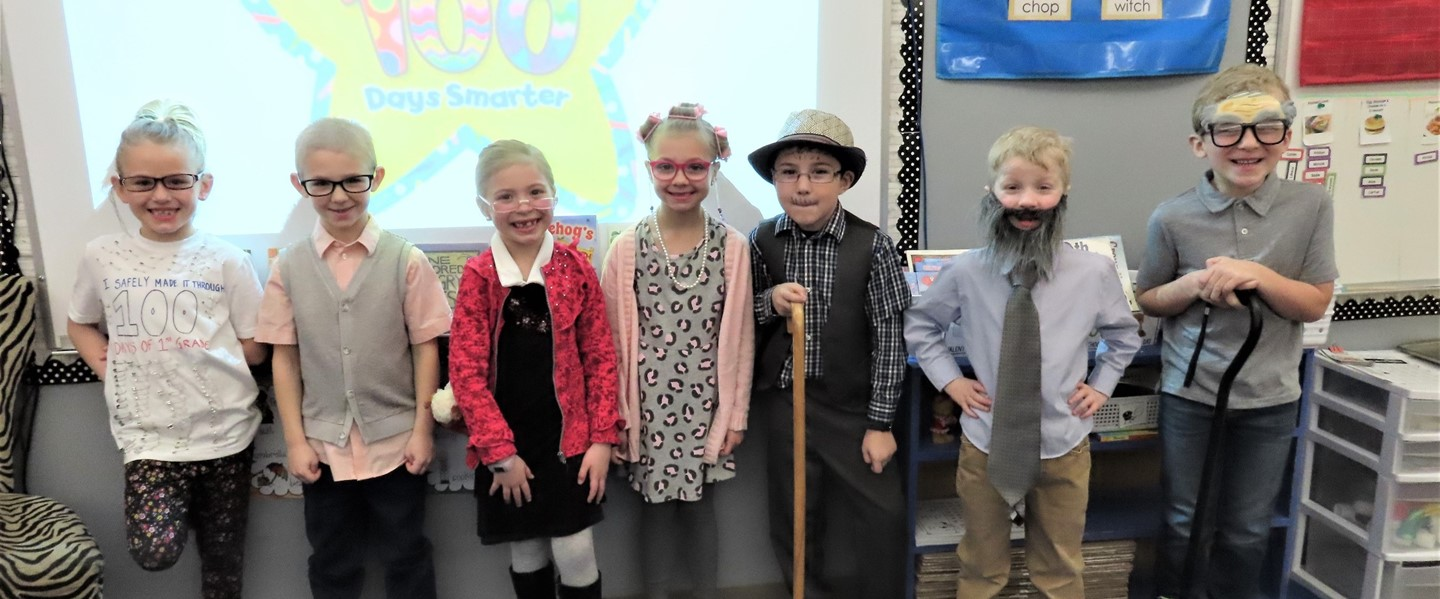 Students dressed as 100 years old