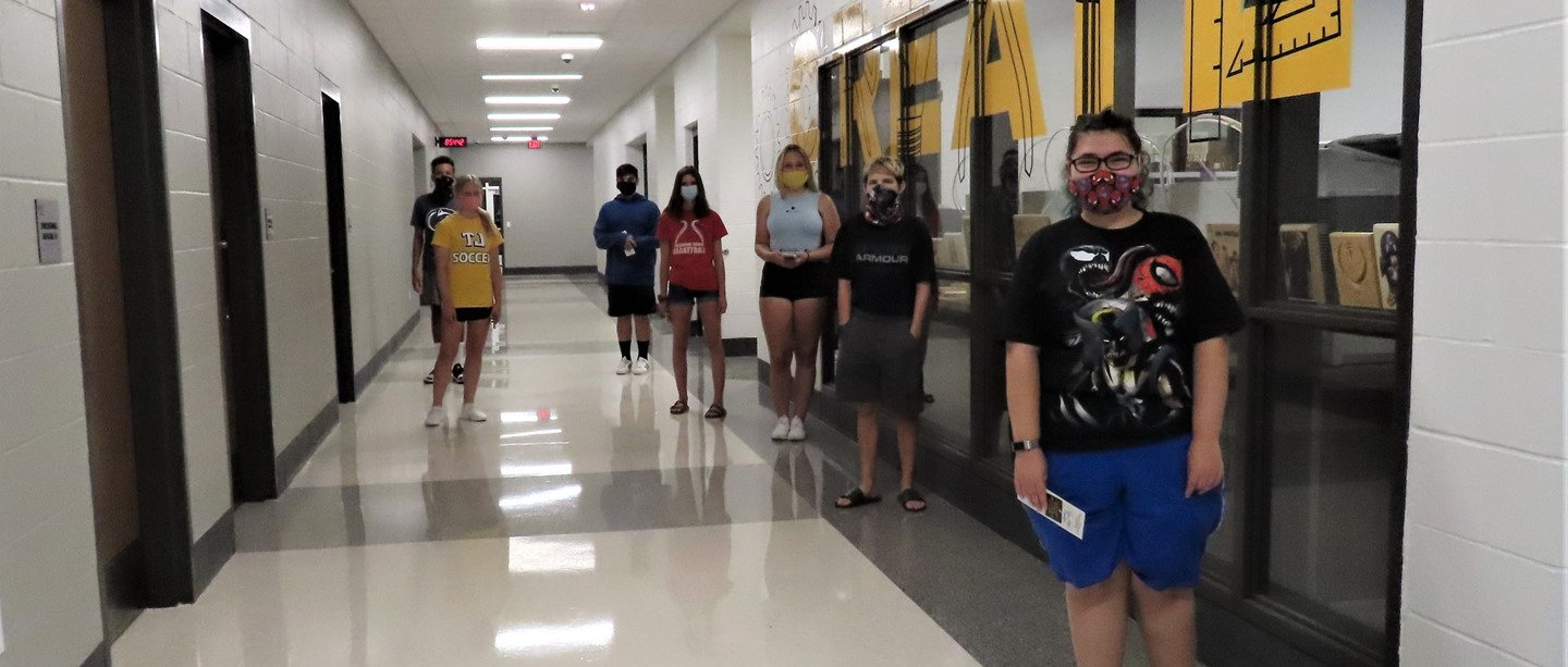 Photo of students wearing masks at orientation