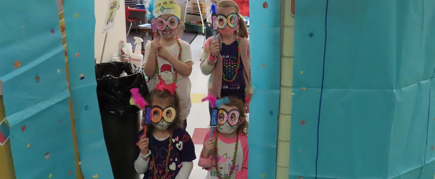 students wearing 100 day of school goggles