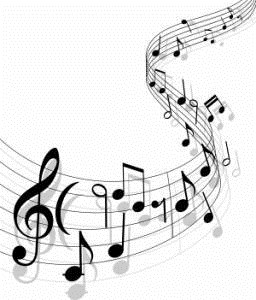 Musical Notes on bars of music
