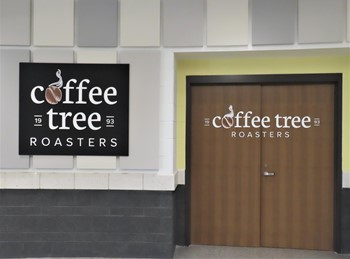 Exterior photo of the Coffee Tree Roasters doors and logo